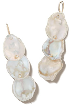 Mizuki 3-Tier Flat Pearl & Diamond Drop Earrings