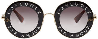 Gucci Black and Gold LAveugle Par Amour Round Sunglasses