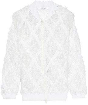 Brunello Cucinelli Frayed Open-Knit Linen And Silk-Blend Bouclé Jacket