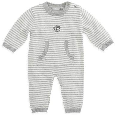 Elegant Baby Size 3-6M Striped Coverall in Grey
