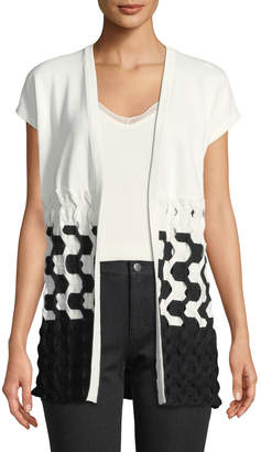 Lafayette 148 New York Cap-Sleeve Two-Tone Cable Vest
