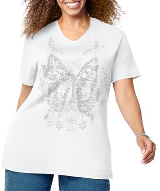 885b13c0b22 Just My Size Women s Plus-Size Graphic Short Sleeve V-neck Tee