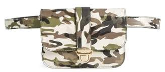 MALI AND LILI Mali + Lili Stella Camouflage Vegan Leather Crossbody Belt Bag