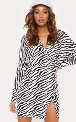 PrettyLittleThing Black Zebra Print Plunge Front Bodycon Dress