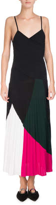 Proenza Schouler Colorblock Sunburst-Pleat Camisole Midi Dress, Multicolor