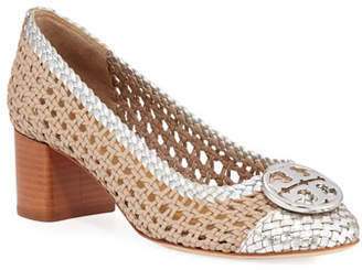 Tory Burch Chelsea Woven Metallic Leather Pumps