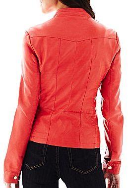 Coffee Shop Faux Leather Scuba Jacket