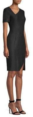 St. John Asymmetric Shimmer Sheath Dresss