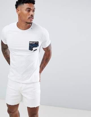Replay camo logo pocket t-shirt in white