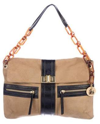 Lanvin Leather-Trimmed Suede Hero Bag