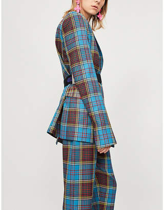 House of Holland Tartan-patterned wool jacket