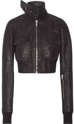 Rick Owens - Cropped Leather Biker Jacket - Black $2,115 thestylecure.com