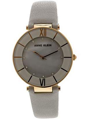 Anne Klein Women's AK/3272RGLG Swarovski Crystal Accented Rose Gold-Tone and Light Grey Leather Strap Watch