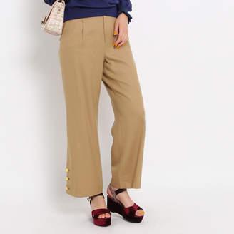 Couture Brooch (クチュール ブローチ) - クチュール ブローチ Couture brooch サキソニー裾ボタンパンツ (キャメル)