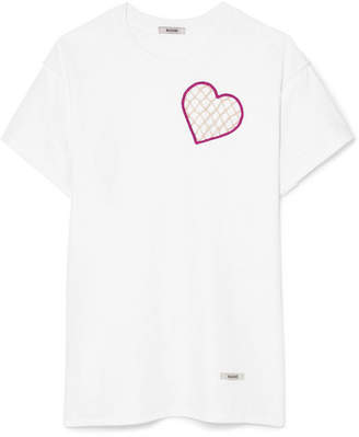 BLOUSE - Heart String Cutout Cotton-jersey T-shirt - White
