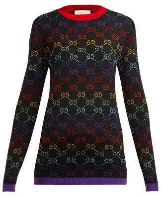 Gucci Gg Jacquard Wool Sweater - Womens - Black Multi