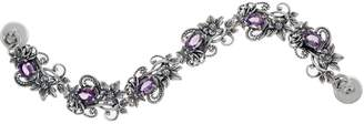Or Paz Sterling Oval Gemstone Floral Link Bracelet