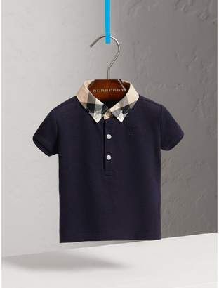 Burberry Childrens Check Collar Cotton Polo Shirt