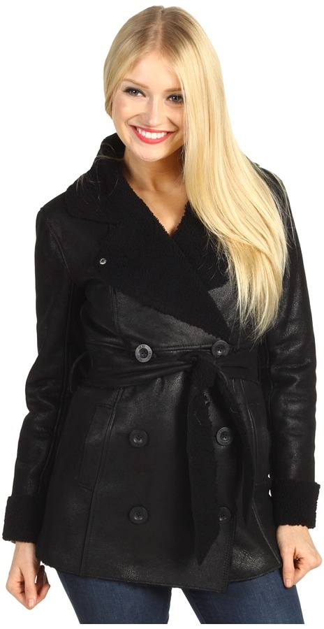 UGG - Lequoia Shearling Coat (Distressed Black/Black) - Apparel
