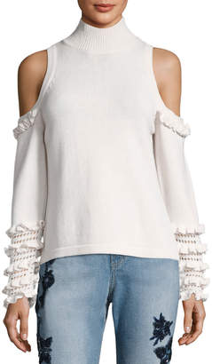 Jonathan Simkhai Cold-Shoulder Crochet Ruffle Turtleneck Sweater