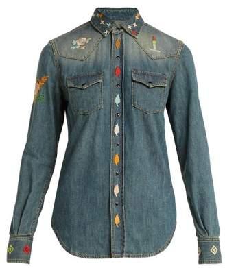 Saint Laurent Embroidered Denim Western Style Shirt - Womens - Denim