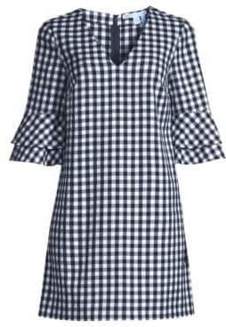 Draper James Women's Gingham Double Bell-Sleeve Shift Dress - Navy Multi - Size 0