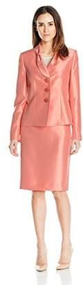 Le Suit Women's Shiny 3 Button Jacket Skirt (2)