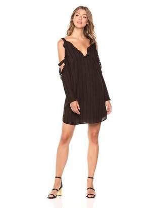 BCBGeneration Women's Ruffle Open ARM Shirt Dress