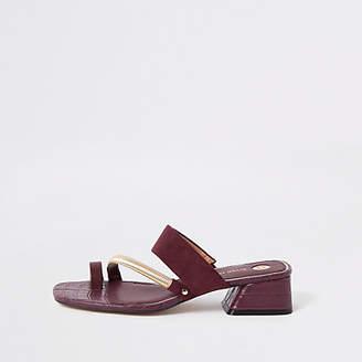 River Island Dark red asymmetric toe ring sandals