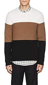 Theory Men's Colorblocked Rib-Knit Wool Sweater - White
