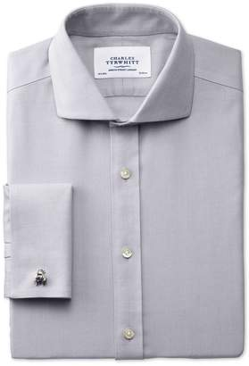 Charles Tyrwhitt Slim Fit Spread Collar Non-Iron Herringbone Grey Cotton Dress Shirt French Cuff Size 17/35