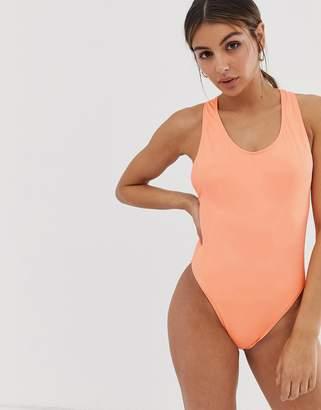 Weekday high leg cross back swimsuit in peach orange