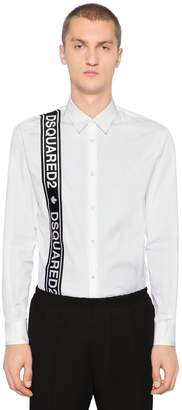 DSQUARED2 Cotton Poplin Shirt W/ Logo Tape
