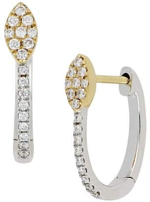 Bony Levy 18K Two-Tone Gold Diamond Detail Marquise Accent Hinged Earrings - 0.12 ctw