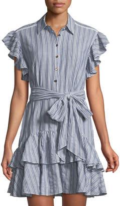 Rebecca Taylor Flutter-Sleeve Striped Shirtdress