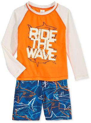 Oshkosh B'Gosh 2-Pc. Ride The Wave Rashguard & Swim Trunks Set, Toddler & Little Boys (2T-7) $38 thestylecure.com