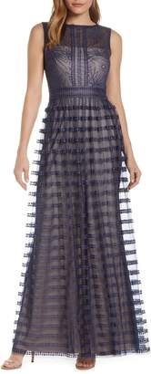 Tadashi Shoji Embroidered Mesh Sleeveless Gown
