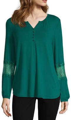 Liz Claiborne Long Sleeve Y Neck Jersey Lace Blouse
