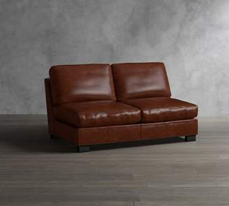 Pottery Barn Turner Leather Armless Loveseat With Nailhead