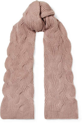 Johnstons of Elgin Cable-knit Cashmere Scarf - Blush
