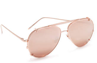 Linda Farrow Luxe Aviator Clip On Sunglasses