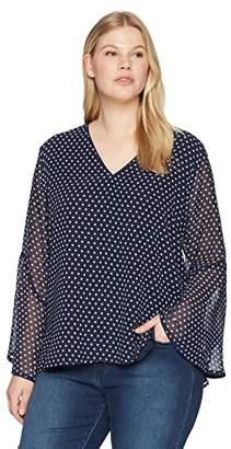 Calvin Klein Women's Plus Size CHIF V/NCK W FLRE SL