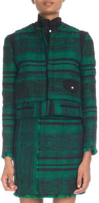 Proenza Schouler Tweed Zip-Front Cropped Jacket