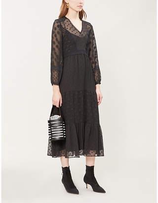 Claudie Pierlot Ronnie lace-trimmed polka-dot crepe dress