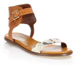Cole Haan Barra Snake-Embossed Leather Sandals