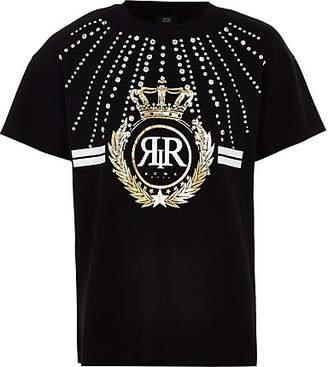 River Island Girls black RI rhinestone embellished T-shirt
