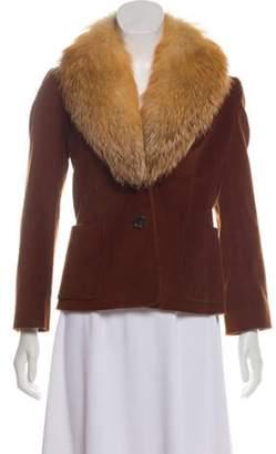 Derek Lam Fur-Trimmed Corduroy Jacket Brown Fur-Trimmed Corduroy Jacket