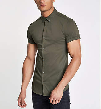 River Island Mens Green poplin muscle fit short sleeve shirt