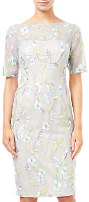Adrianna Papell Embroidered Sheath Dress, Lime Multi
