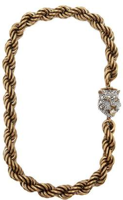 Gucci Chunky Feline Head Necklace - Womens - Gold